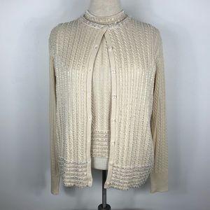 Vintage Beaded Silk Cardigan Sweater Twinset